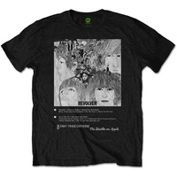 The Beatles Revolver 8 Track Mens Black T-Shirt (Small) - Cover
