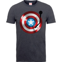 Captain America 75th Captains Record Boys Charcoal Grey  T-Shirt (7 - 8 Years) - Cover