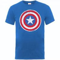 Captain America Distressed Shield Boys Royal Blue T-Shirt (9 - 11 Years) - Cover