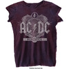 AC/DC Black Ice Ladies Burnout Navy/Red T-Shirt (X-Small)