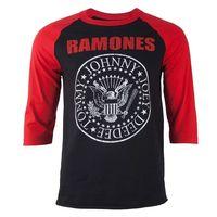 Ramones Seal Logo Mens Long Sleeve Black / Red Raglan T-Shirt (X-Large) - Cover