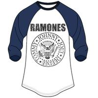 Ramones Seal Logo Mens Long Navy Sleeve Raglan T-Shirt (Large) - Cover