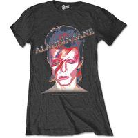 David Bowie Aladdin Sane Ladies Charcoal T-Shirt (Medium) - Cover