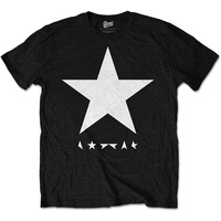 David Bowie White Star On Black Mens Black T-Shirt (XX-Large) - Cover