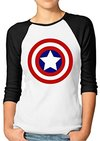 Captain America - Shield Black & White Ladies Raglan T-Shirt (Size 8)