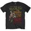 Bob Marley Rastaman Vibration Tour 1976 Mens Black T-Shirt (Large)