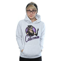 DC Comics Bombshells Catwoman Badge Ladies Grey Pullover Hoodie (X-Small) - Cover