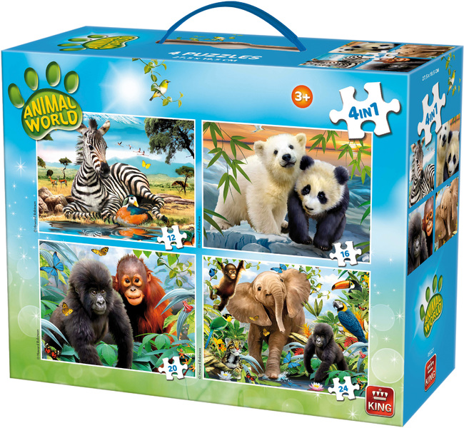 King Puzzle - Animal World - 4 in 1 carry case puzzles (12 ...