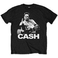 Johnny Cash Finger Mens Black T-Shirt (Small) - Cover