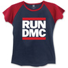 Run DMC Logo Ladies Short Sleeve Navy/Red Raglan T-Shirt (Large)