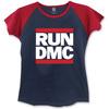 Run DMC Logo Ladies Short Sleeve Navy/Red Raglan T-Shirt (Small)