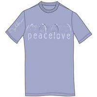 John Lennon Peace & Love Mens Light Blue T-Shirt (XX-Large) - Cover