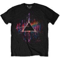 Pink Floyd Dark Side of the Moon Pink Splatter Mens Black T-Shirt (Medium) - Cover