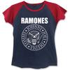 Ramones Presidential Seal Ladies Navy/Red Raglan T-Shirt (Small)