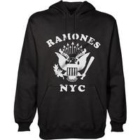 Ramones Retro Eagle NYC Mens Pullover Black Hoodie (Small) - Cover