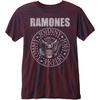 Ramones Presidential Seal Mens Burnout Burgundy T-Shirt (X-Small)