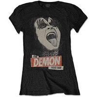 Kiss The Demon Rock God Ladies Black T-Shirt (Medium) - Cover