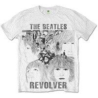 The Beatles Revolver Sublimation Mens White T-Shirt (Small) - Cover