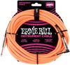 Ernie Ball 25 Foot Braided Instrument Cable (Neon Orange)