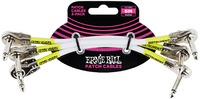 Ernie Ball 6 Inch Flat Angled Jack Patch Cables 3 Pack (White) - Cover