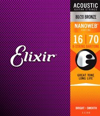 Elixir 11308 Nanoweb 16-70 8 String Baritone 80/20 Bronze Coated Acoustic Guitar Strings - Cover