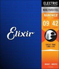Elixir 12002 Nanoweb 9-42 Super Light Nickel Plated Steel Coated Electric Guitar Strings - Cover