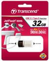 Transcend - 890 JetFlash 32GB USB-C & USB 3.1 Flash Drive - Silver