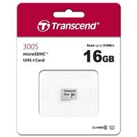 Transcend 300s 16GB MicroSDXC UHS-I Class 10 Memory Card - Silver (without Adapter)