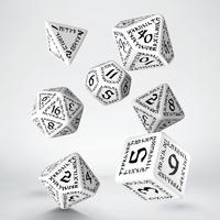 Q-Workshop - Set of 7 Polyhedral Dice - Runic White & Black