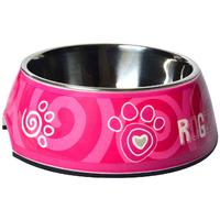 Rogz - 2-in-1 Small 160ml Bubble Dog Bowl (Pink Paw Design)