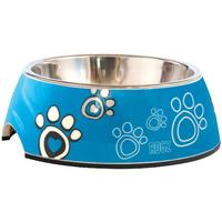Rogz - 2-in-1 Medium 350ml Bubble Dog Bowl (Turquoise Paw Design)