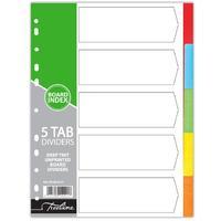 Treeline - A4 5 Tab Unprinted Deep Tint Board Dividers (Box of 10)
