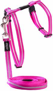 Rogz - Catz 11mm AlleyCat Reflective Cat Lead and H-Harness Combination (Pink) - Cover