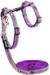 Rogz - Catz 11mm NightCat Reflective Cat Lead and H-Harness Combination (Purple Budgies Design)