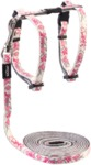 Rogz - Catz 11mm GlowCat Reflective Glow-in-the-Dark Cat Lead and H-Harness Combination (Pink Butterflies Design)