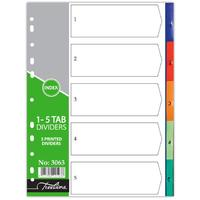 Treeline - A4 Index 1 to 5 Printed PVC Divider (Box of 10)