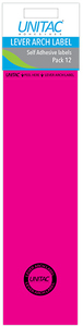 Unitac - Lever Arch Labels - Pink Pack of 12 (Box of 10) - Cover