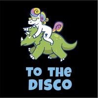 Unicorn to the Disco Women's Black T-Shirt (X-Large) - Cover