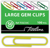 Treeline - 50mm PVC Coated Assorted colour Gem Clips Pack of 100 (Box of 10)