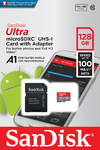 Sandisk Ultra Android MicroSDCX 128GB + SD Adapter 100MB/s A1 Class 10 Uhs-I