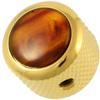 Q-Parts Guitar 14.6mm Tall Acrylic Tortoise Mini Dome Control Knob with Set Screw (Gold)
