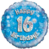 Oaktree - 18 inch Foil Balloon - Happy 16th Birthday Blue Holographic