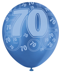 Unique Party - 12 inch Latex Balloon - 70th Birthday - Blue - Cover