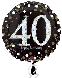 Anagram - 18 inch Circle Foil Balloon - Sparkling Birthday 40 - Cover