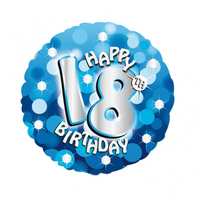 Anagram - 18 inch Holo Everts Foil Balloon - 18th Birthday - Blue - Cover