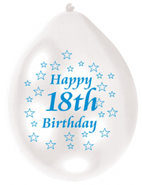 Amscan - Minipax Balloons - 18th Birthday - Blue/White (Pack of 10) - Cover