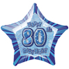 Unique Party - 20 inch Star Foil Balloon - 80th Birthday - Blue Cover