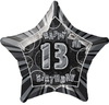 Unique Party - 20 inch Star Foil Balloon - 13th Birthday - Black/Silver