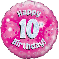 Oaktree - 18 inch Foil Balloon - Happy 10th Birthday - Pink - Holographic - Cover