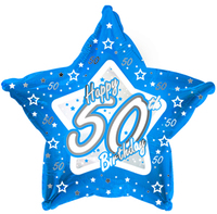 Creative Party - 18 inch Blue Star Balloon - Age 50 - Cover